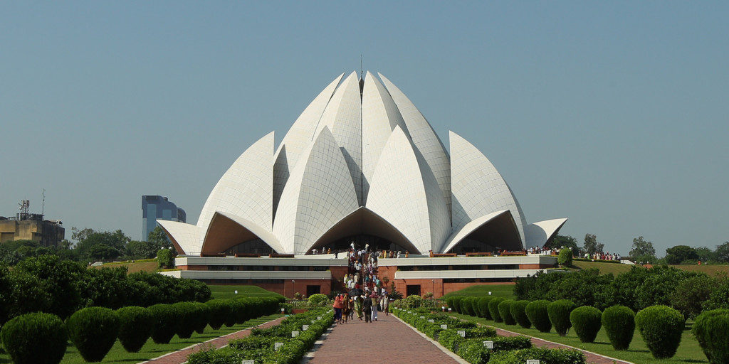 DELHI, INDIA - SEPTEMBER 30: Tourists visit the The Bahá'i House of Worship known as the 'Lotus Temple' ahead of the Delhi 2010 Commonwealth Games on September 30, 2010 in Delhi, India. (Photo by Cameron Spencer/Getty Images)